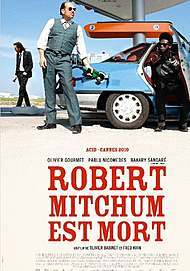 "Movie poster for ""ROBERT MITCHUM IS DEAD"""
