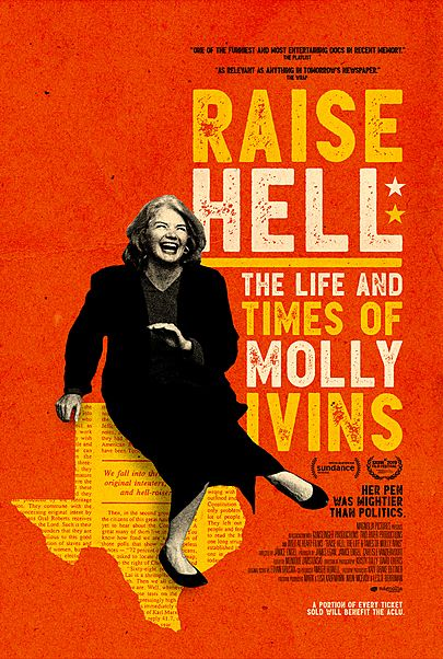 """Movie poster for """"RAISE HELL: THE LIFE AND TIMES OF MOLLY IVINS"""""""